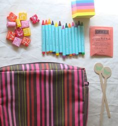The Haystack Needle Care package- could totally make this myself, crayons wrapped in a stamped post it note.
