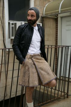 Look no further than the Bavarian Leather Kilt, For a casual approach to kilt wearing, something that can be worn during everyday errands and work. This understated kilt is appropriate for any informal occasion with its plain design and earthy colors. Leather Kilt, Leather Men, Kilts For Sale, Modern Kilts, Boys Wearing Skirts, Utility Kilt, Men In Kilts, Kilt Men, Man Skirt