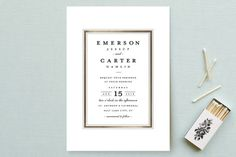 """""""Classic Label"""" - Elegant, Classical Wedding Invitations in Powder by Stacey Meacham."""