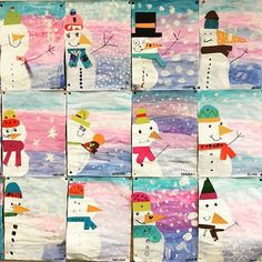 These snowmen are hanging in the classroom ❤️ # classroom since this morning … - Winter Art Winter Art Projects, Winter Crafts For Kids, Art For Kids, Art Education Lessons, Art Lessons Elementary, Arte Elemental, Primary School Art, Collaborative Art Projects, Canvas Painting Tutorials