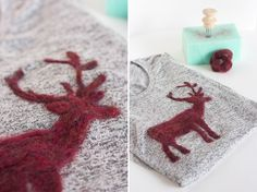 DIY Wool Felted Reindeer Sweater- One Little Minute Blog- step eleven