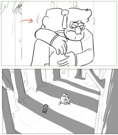 Director / Storyboard Artist Ducktales Gravity Falls This is my personal work. Animation Storyboard, Storyboard Artist, Gravity Falls, Hug Pose, Storyboard Template, Comic Tutorial, Best Cartoons Ever, Composition Art, Reverse Falls