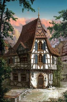 New house art fantasy illustrations ideas - Baustil Fantasy Garden, Fantasy Town, Fantasy House, Medieval Fantasy, Fantasy World, Fantasy Village, Fantasy Castle, Casa Medieval Minecraft, Medieval Houses