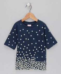 Take a look at this Navy Polka Dot Organic Tee - Toddler & Girls by baobab on #zulily today!
