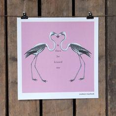 Flamingoes paper print in pink #art