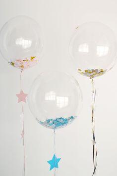globos transparentes con confetis decoracion boda
