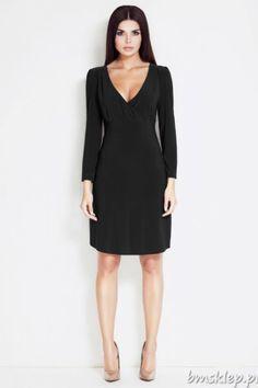 Elegancka sukienka z dekoltem na zakładkę.Długość do kolan.... #Sukienki - http://bmsklep.pl/sukienka-a32