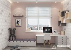 Scandinavian style kidroom for girl, designed by Azari Architects