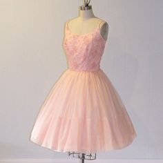 1950s Party Dress / 50s Pink Floral Lace & by daisyandstella, $200.00