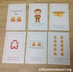Gingerbread Men Sequence Cards or Early Reader Book (from Trillium Montessori)