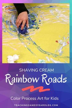 This rainbow art activity is all about the process as toy cars are driving through colored shaving cream. A hands-on lesson on color mixing! Preschool Color Activities, Sensory Activities, Preschool Activities, Indoor Activities, Family Activities, Water Games For Kids, Summer Activities For Kids, Backyard For Kids, Backyard Games