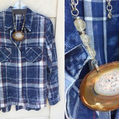 This unique tie-dye button down looks amazing paired with an equally unique #brighton necklace  #apogee #fall #unique