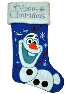 NEW ~ Disney Frozen Olaf  '' Merry Christmas '' Holiday Stocking in Blue