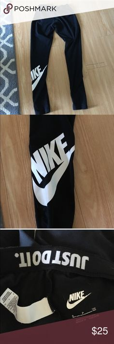 Nike Cotton Leggings Worn a handful of times, very comfortable cotton Nike leggings. Full length. 57% cotton, 32% polyester, 11% spandex Nike Pants Leggings
