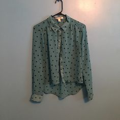 Top Blue with black polka dots Forever 21 Tops Blouses