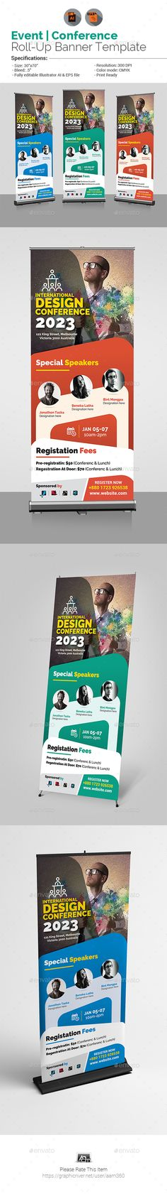 """Conference Roll-Up Banner Template by aam360 Similar Templates:INFORMATIONS FOR THIS ROLL UP BANNER:FEATURES:Size: 30""""x70"""" Bleed: .5""""Three Color Variations Fully editable Illu"""
