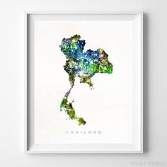 Thailand Watercolor Map Wall Art Home Decor Poster Artwork Gift Print  -   Prices from $9.95 - Click Photo for Details - #watercolor #map #art   #decor #poster #wallart #print #Thailand