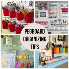 16 Pegboard Organizing Tips.   I never thought of using a pegboard in my craft room! This is genius!!!!