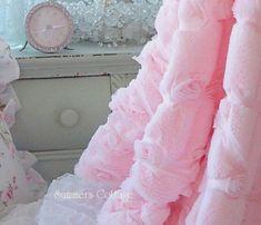 SHABBY BABY PINK FUR SATIN RIBBON RUFFLE ROSES CHIC THROW SOFT COZY BLANKET