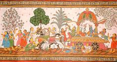 "Patachitra scroll painting. From Bengal and Orrisa. The ""pattas"" are made from silk or cotton through an arduous process."