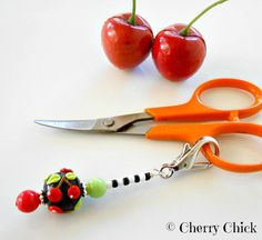 Cherry Lampwork Glass Scissor Fob, Gift for Sewers,  Gift for Quilters by DecorativeSewingPins
