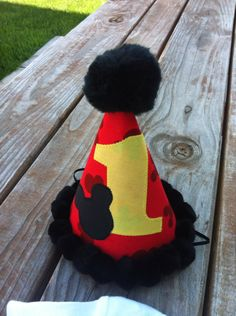 Mickey Mouse birthday, Mickey Mouse birthday hat, Mickey Mouse photo prop. Mickey Mouse Cake smash hat. Mickey Mouse fabric  by Classyritzybabies on Etsy https://www.etsy.com/listing/164332198/mickey-mouse-birthday-mickey-mouse
