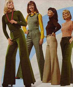 1974 Big bell-bottoms had to cover your shoes. These ladies look like they are in their but were probably year-old models. My dads comment was 'women with bell bottoms shouldn't wear bell bottoms', 70s Inspired Fashion, 60s And 70s Fashion, Retro Fashion, Womens Fashion, Fashion Trends, Seventies Fashion, Fashion Fashion, Vintage Women's Fashion, Autumn Fashion