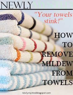 Wash no more than three large towels at a time with 1 1/2 cups of white vinegar in HOT water. Run the load again with 1/2 cup of baking soda, also in hot water. Dry them until they are completely dry. Not just hot, but dry. Do not use fabric softener.