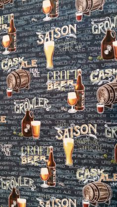 CRAFT BEER COLLAGE Print Cotton Fabric Half Yard Tavern Pub Decor Retro Kitch Novelty  quilting crafts Fun for Creative Genius Projects