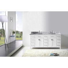 Virtu USA Caroline Parkway 72-inch Round Double Bathroom Vanity Set with No Mirror