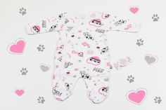 White overall with printed Dalmatians. Comfortable and beautiful, this 100% cotton overall will fit your baby girl perfectly. You won't have to worry about the color after washing. Just looking at them makes you imagine how cute your baby will look in it, right? If yes, don't miss this offer with an adorable price!
