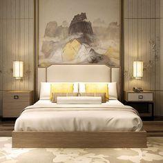 新中式床 现代中式布艺双人床 宾馆样板房...
