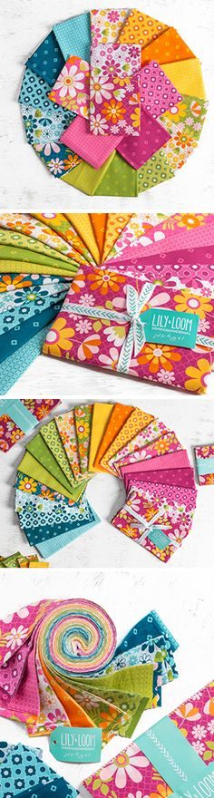 Modern, yet a bit retro, Daisy Delights vibrant prints are perfect for scrappy quilts. Shop this fun floral fabric at Craftsy!