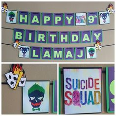 Check out this item in my Etsy shop https://www.etsy.com/listing/506367409/suicide-squad-birthday-banner-suicide