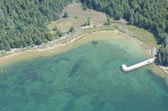 Aerial View of Shipwreck by Liz Carter on Capture Door County // Beautiful day for seeing the shipwrecks from above.
