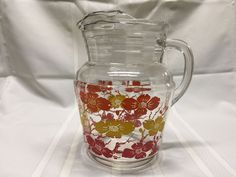 Vintage Glass Water Ice Lip Pitcher Red Yellow Orange Flower Floral Swanky Retro