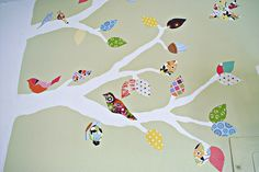 Painted tree, scrapbook paper leaves and birds.