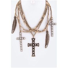 Trendy & Edgy! Cross & Feather Necklace