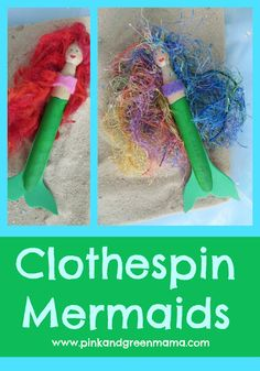 Clothespin Mermaids from Pink and Green Mama Blog - great craft to make with kids or in classroom - DIY toy!