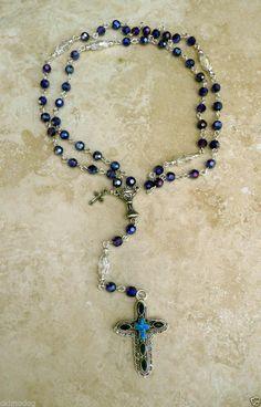 Genuine Swarovski Sapphire AB Crystal Silver Rosary w/Ster.Silver Sapphire Cross