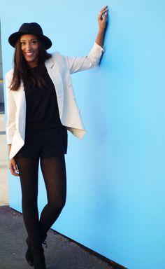 cream blazer and all black on tipandtink.com
