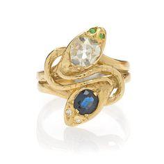 An antique sapphire, demantoid garnet and diamond snake ring,
