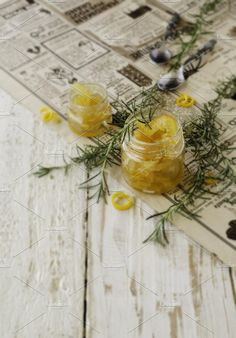 orange marmalade in small glass jars with rosemary, selective focus by Wild Drago Shop on @creativemarket