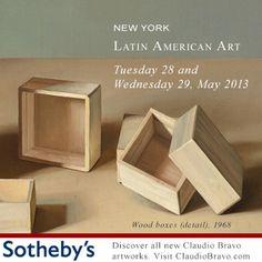Discover the artworks of Claudio Bravo in Sotheby's New York Art Sale. Click on www.claudiobravo.com/en_news_2013-05-21.html  Claudio Bravo presente en Subasta de Arte Latinoamericano en Sotheby's Nueva York. Lea más en www.claudiobravo.com/noticia_2013-05-21.html