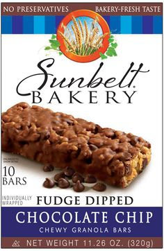 Sunbelt Bakery Fudge Dipped Chocolate Chip Chewy Granola Bars