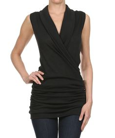 Look at this J-Mode USA Los Angeles Black Sleeveless Surplice Top on #zulily today!