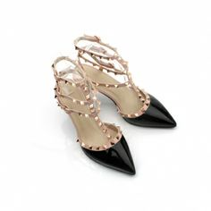 Pointy Toe Rivets Embellished Patent Leather Thin Heeled Sandals
