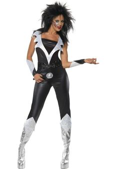 This Glam Rock Chick is probably the most enjoyable hair based costume ever. This is the sorta chick you wanna K. Put on some makeup and bring your attitude to the fancy dress party with this costume. 1970s Fancy Dress, Disco Fancy Dress, Adult Fancy Dress, Glam Rock, Rocker Costume, Retro Costume, Kiss Costume, Disco Jumpsuit, Black Jumpsuit