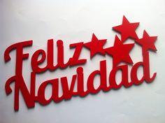 Letras de madera feliz navidad Personalizadas de Planetasierra por DaWanda.com