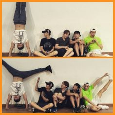 It's usually Kim Dong Wan doing the handstands. Here we have a normal day in Shinhwa land.